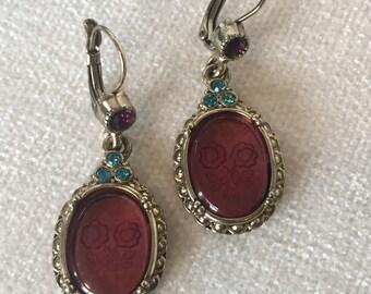Sale Purple flower intaglio Earrings