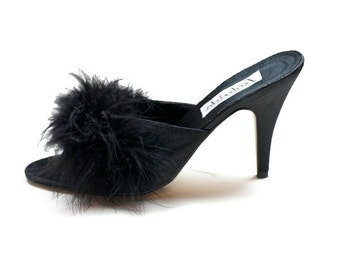 Black Satin Frederick's of Hollywood Classic Marabou Feather Boudoir Mules 1980s Vintage // Size