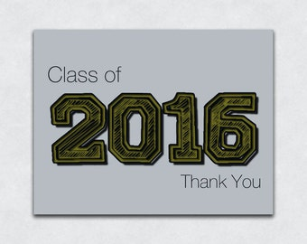 """10 Pack of """"Class of 2016"""" Thank You Cards, Graduation Thank You Notes"""