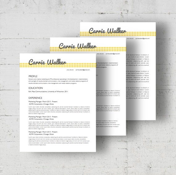 Resume Template Cover Letter Template The Sara By Phdpress: Five Colors Resume & Cover Letter Template Carrie Walker