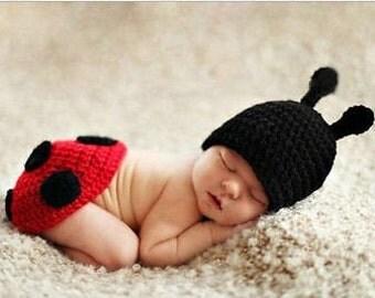 Newborn costume- newborn photo outfit - ladybug - baby boy costume - baby girl costume - baby lady bug costume