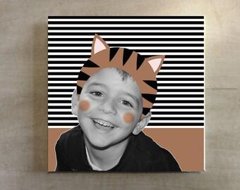 Children portrait / Animal decor / Tiger illustration / Kids wall art / Personalized art / Bedroom decoration / Photo prints