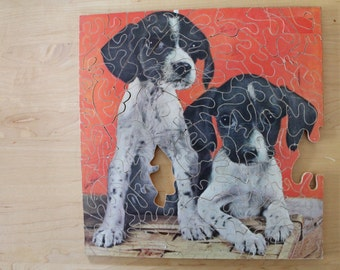1970s Handmade Jigsaw, Vintage Wooden Puzzle - Two Puppies, Vintage Dog Puzzle
