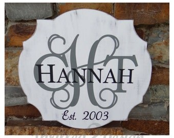 Monogram Name Plaque with Established Date - Gift, Wedding, Shower