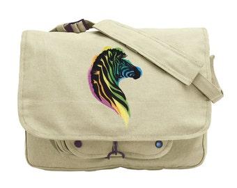 Zebra Bag, Rainbow Zebra Embroidered Canvas Messenger Bag