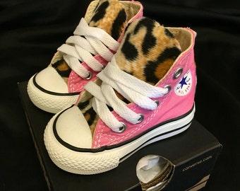 Custom Converse faux leopard fur toddler chuck Taylor all stars