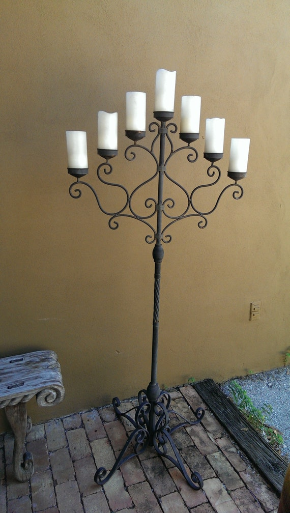 Romantic Forged Iron Tall Altar Candelabra