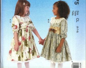 McCall's 7075      Childrens/ Girls Dresses, Belt, Petticoat     Size 6,7,8   Uncut