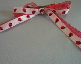 Hand Made Ribbon Barrett Hair Clip Red and Pink Ladybugs Cute Bow for Girl