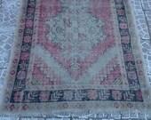VİNTAGE Turkish Oushak Overdyed Rug 106x39