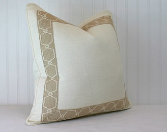 Both Sides - One Kravet Ivory linen Pillow Cover with Birch Tape and Self Cording