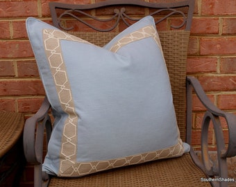 Both Sides - One Sky Blue Linen Pillow Cover with Birch Tape and Self Cording