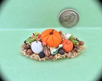 """Fall Miniature Pumpkin n Gourd Centerpiece  1 1/2""""x 1"""""""