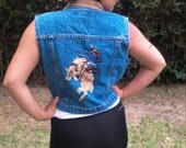 Ride'em cowgirl ,denim vest,small,denim,embroidered vest, Team Tactics
