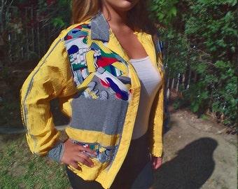 Yellow silk windbreaker,Picasso designs,size 12, Free US shipping