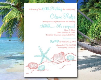 "Beach Birthday Invitation Template - Birthday Party Invitation - Starfish Coral Light Turquoise ""Sandy Shores"" Seashell Birthday Template"
