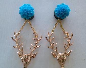 9/16 blue flower deer dangle gauges