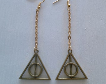 Deathly hallows gold earrings