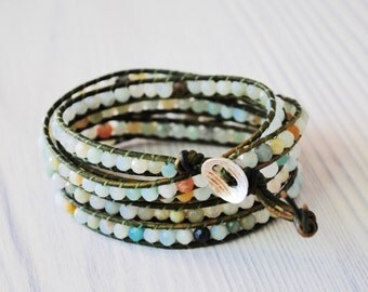 Beautiful amazonite 5 wrap leather bracelet with silver scoop button