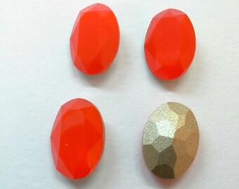 4 PCs, Cabochon glass 10x14mm Opal coral color