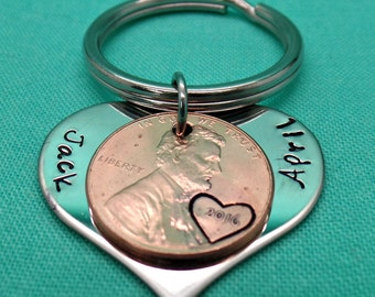 Lucky Us Keychain made of stainless steel with 1 penny, Lucky Penny, engraved penny , Penny keychain, Mother's Day