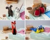 2 Needle Felting Kits Special Offer - complete felting kit - craft kit for adults - felt animals project - needle felting animals