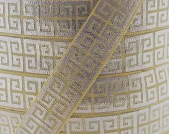 Daffodil Gold Metallic Swirl Print Fold Over Elastic - Elastic for Baby Headbands and Hair Ties - 5 Yards 5/8 inch Printed FOE