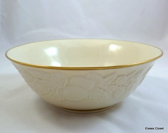 "Lenox ""FRUITS OF LIFE"" 9"" Round Serving Bowl Gold Trim Lenox Fruits of Life Round Vegetable Bowl with Gold Trim Lenox Fruits of Life 9"" Bowl"