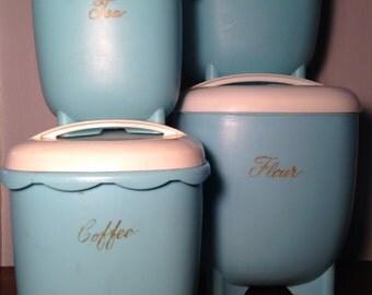 vintage turquoise blue blisscraft of hollywood plastic kitchen canister set
