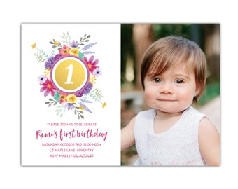 Photo Birthday Invitation // First Birthday Invitations Girl // Girls Invitations // 5x7 Printable Watercolor Floral Invitation // The Remi