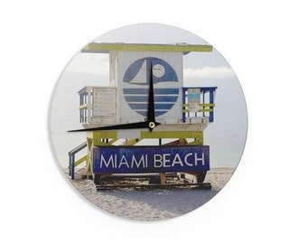 "Wall Clock - Blue Multicolor Philip Brown ""Miami Beach lifeguard Stand"" PB2003A Great Gift Idea!"
