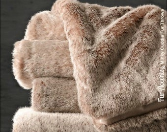 Worlds Softest Minky Cuddle Fur Throw  Blanket - Reversible - Gray or Brown Tones - Lined with Minky Fur