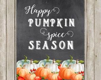 8x10 Watercolor Fall Art Print, Pumpkin Spice Season Art, Autumn Printable, Chalkboard Autumn Art, Watercolor Fall Poster, Instant Download