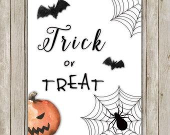 8x10 Halloween Print, Trick or Treat, Pumpkin Print, Spooky Wall Art, Digital Art, Poster, Halloween Decor, Fall Decor, Instant Download