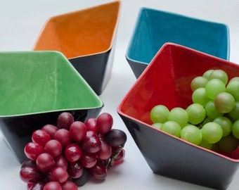 Square Slant Bowls Bright Colors