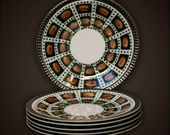 6 small dessert plates - Cake - cupcake - Boch - 1966 - decor Bernadette - Belgium