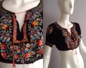 Vintage 40s Romanian Hungarian Poet Blouse ~Sheer Crochet Crepe Crop Top ~ Hand Embroidered Hobo Peasant Shirt ~ Bohemian Tunic