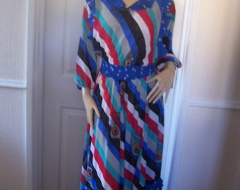 Lachine Very Rare Authentic Vintage Vibrant Summer Maxi Dress sz 10/12