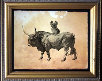 Yorkshire Terrier Yorkie Riding Bull - Vintage Collage Art Print on Tea Stained Paper - Vintage Art Print