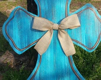 Rustic  Blue Cross Door Hanger