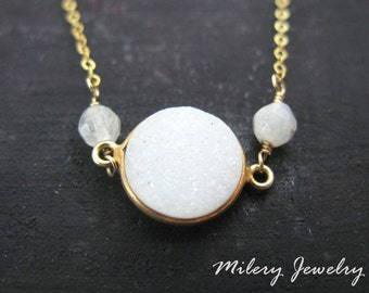 White Agate Druzy Bezel Pendant Necklace, 14K Gold Filled, Gold Vermeil, Everyday Jewelry, Layering Necklace, Delicate Jewelry
