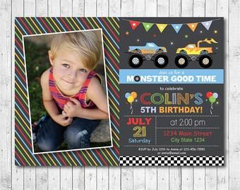 Monster Truck Invitation, Monster truck invite, monster truck birthday, monster truck party, Photo Invitation, Printable