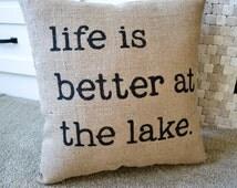 Burlap Cabin Pillow, Lake or Cabin Decor, North Woods Decor, Stenciled Pillow, Lake Decor, Rustic Pillow, Lake House, Beach House, Lake Home