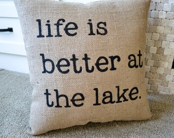 Burlap Pillow, Lake House Decor, Rustic Cabin Decor, Burlap Farmhouse Pillow, Rustic Home Decor, Rustic Cabin, Cabin in the Woods, Rustic