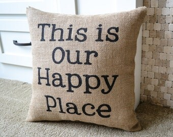 Burlap Pillow, Cabin Decor, Lake Home Decor, Retirement Gift, Home Decor, Up North, Throw Pillow, Stenciled Pillow, Rustic Home Decor, Beach