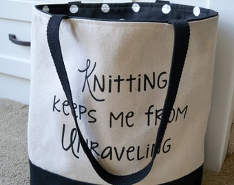 Canvas Tote for Knitters, Knitting Tote, Knitting Project Bag, Knitting Gift, Mother's Day, Funny Knitting Bag, Mom Gift, Knitter, Knitting