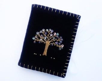 Tree of Life Needle Case, Black Wool Felt Needle Book, Gold Embroidered Needle Case, Beaded Needle Holder