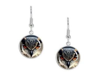 "Great Horned Owl Portrait Photo Artwork Print Dangle Earrings 3/4"" Charms Silver Tone, Autumn, Halloween"