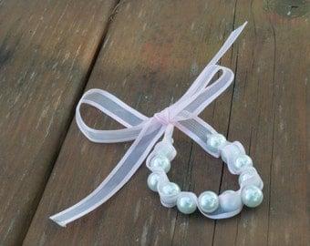 Custom Ribbon and Pearls Adjustable Flower Girl Bracelet