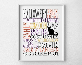 Halloween Print, Halloween Decor, Halloween Subway Art, Halloween Poster, Halloween Art, Halloween Decoration, Halloween Sign, 0426